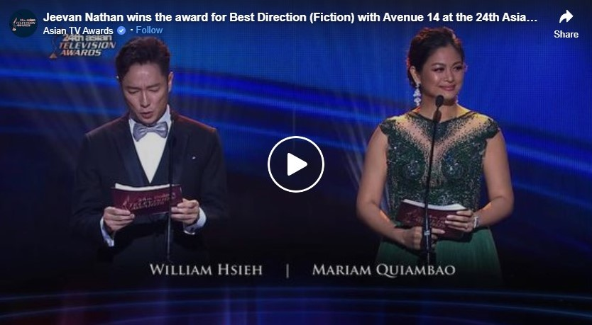 jeevan nathan wins the award for best direction fiction with avenue 14 at the 24th asian television awards