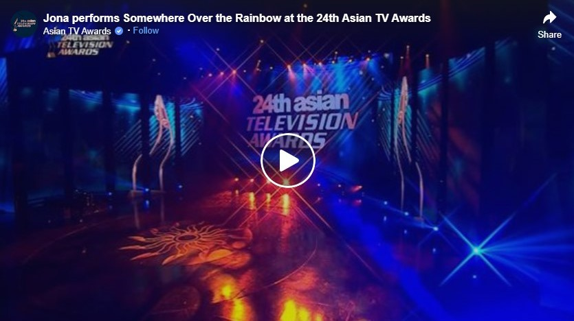jona performs somewhere over the rainbow at the 24th asian tv awards
